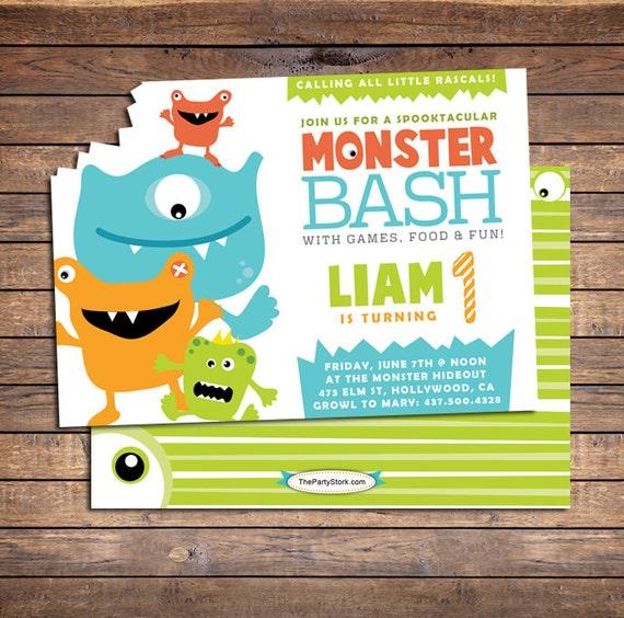 monster invitations monster first birthday invitation monster