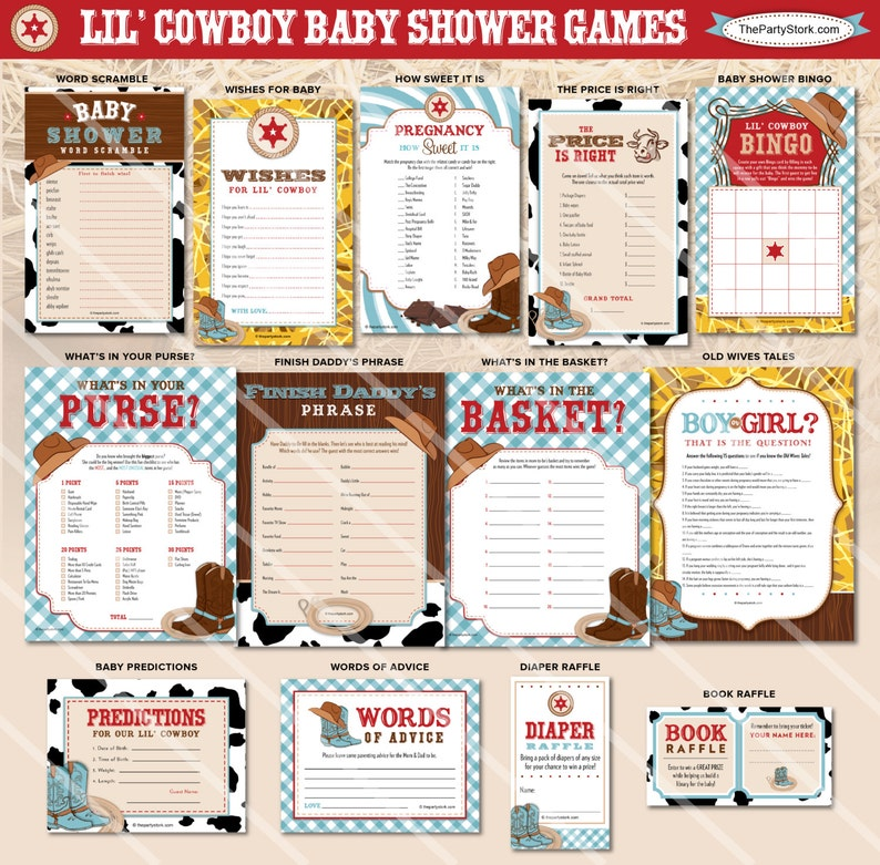 Cowboy Baby Shower Games Western Theme Boy Baby Shower Etsy