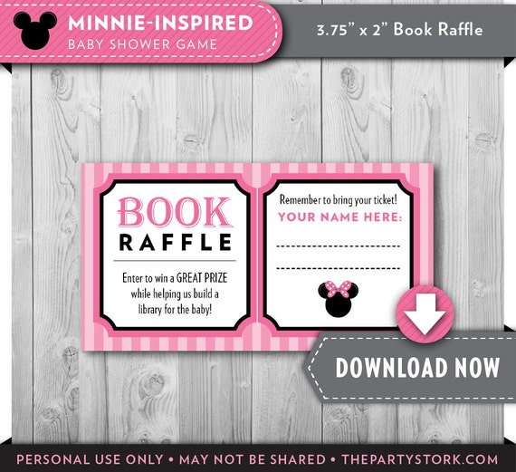 Minnie Mouse Baby Shower Bring A Book Raffle Tickets Pink