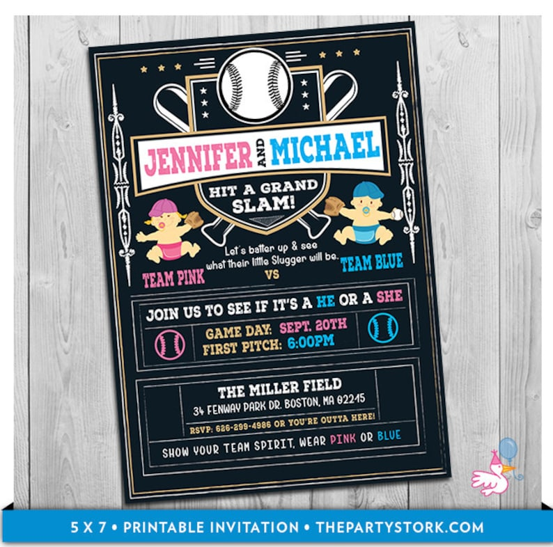 photo regarding Printable Gender Reveal Invitations named Baseball Gender Explain Invitation, Printable Gender Demonstrate Invitation, Baseball Gender Child Demonstrate Social gathering, Personnel Red Staff Blue, He or She