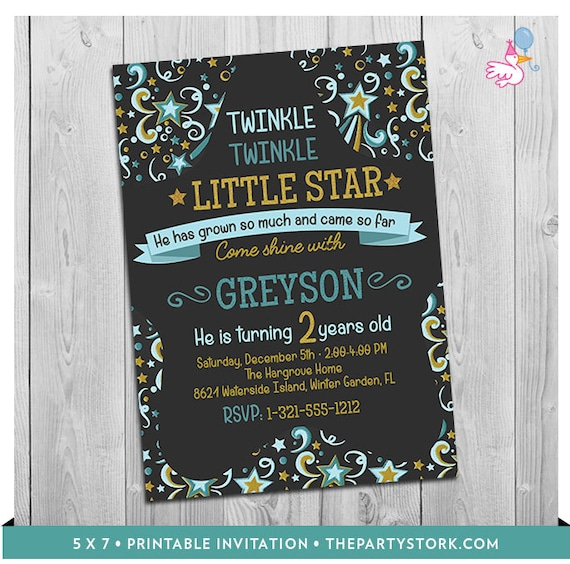 Twinkle Little Star Invitation Printable Baby Boy 1st Or 2nd Birthday Party Invite