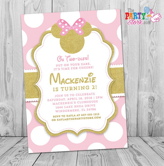 Pink And Gold Minnie Mouse Birthday Invitation