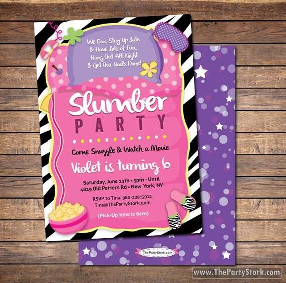 Slumber Party Invitation Sleepover Invitation Sleepover Party