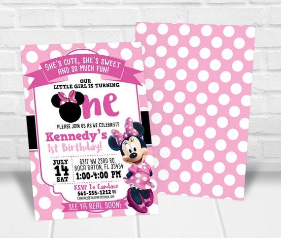 Minnie First Birthday Invitation Minnie 1st Birthday