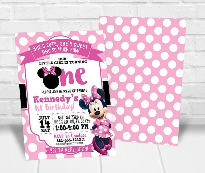 Minnie First Birthday Invitation Minnie 1st Birthday Etsy