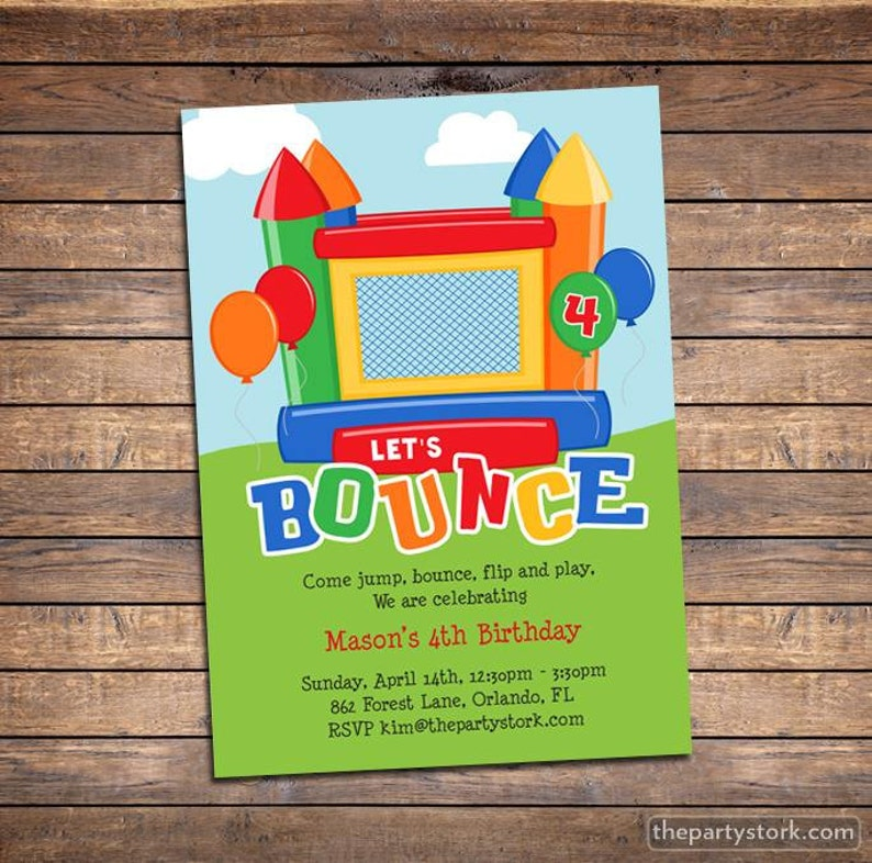 Bounce House Invitation Printable Kids Birthday Party Invites Etsy