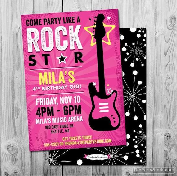 Rock Star Birthday Party Invitation Printable Girls