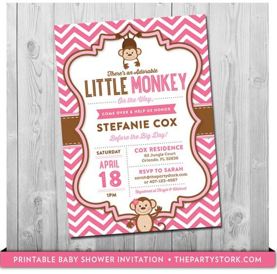 Pink monkey baby shower invitation unique printable diy etsy image 0 filmwisefo
