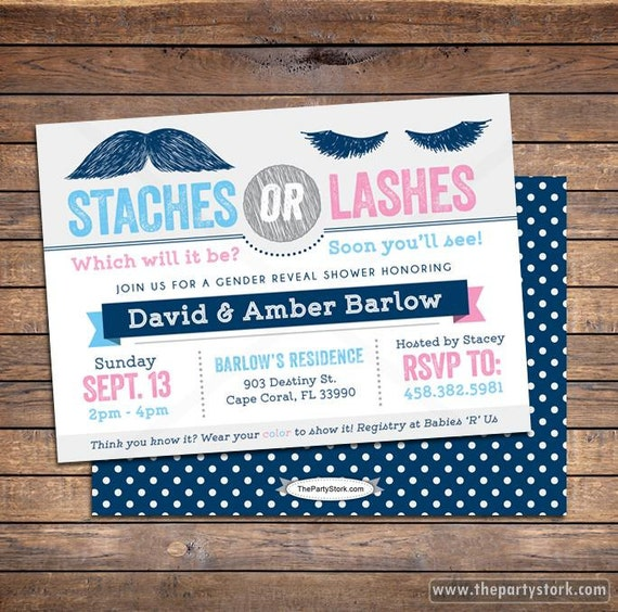 Staches Or Lashes Gender Reveal Party Invitation Ideas Pink Etsy