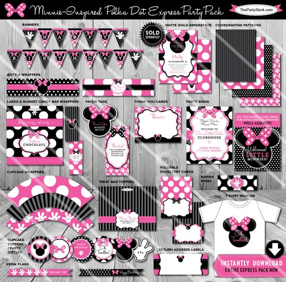 Minnie Mouse Party Decorations Birthday Printable Supplies