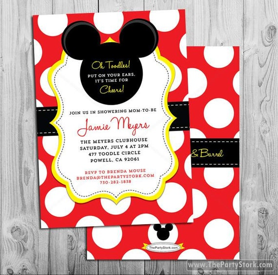 Modest image regarding mickey mouse baby shower invitations printable