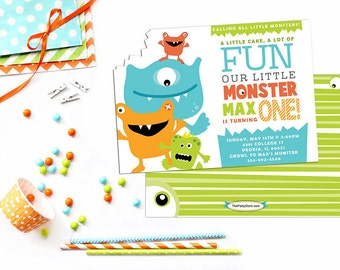 Monster Invitation, Little Monster Birthday, Little Monster Invitation, Printable Monster Birthday Invitation, Printable Monster Invitation