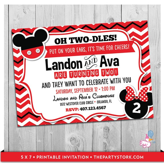 Twin Invitations Mickey And Minnie Mouse Birthday Boy Girl Party