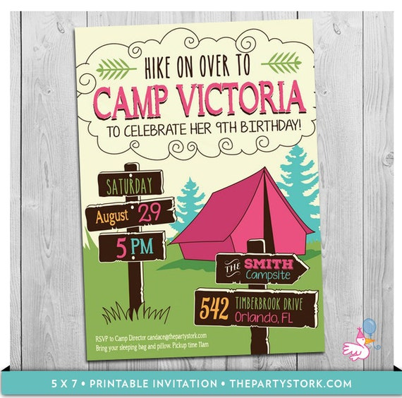 Camping Theme Invitations: Girls Camp Invitation Camping Invitations Girls Camping