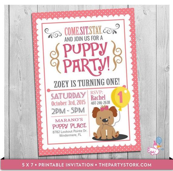 Puppy Invitation Custom Printable Girls First Birthday Party Invitations