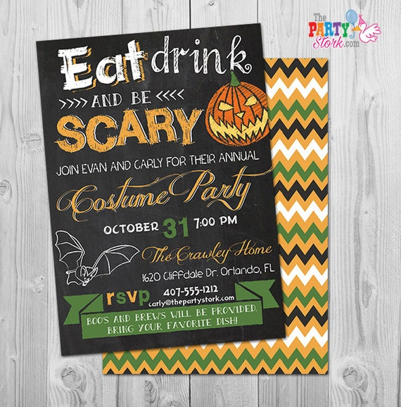 halloween invitation eat drink and be scary invitations costume