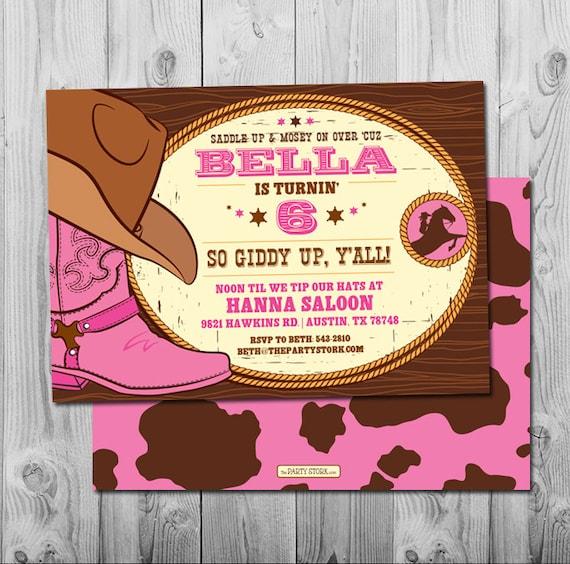 Cowgirl Invitation Cowgirl Birthday Invitations Girl