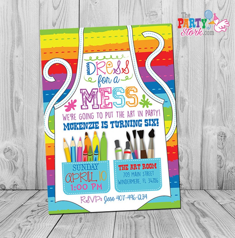 Art Party Invitation Birthday Paint Painting Printable