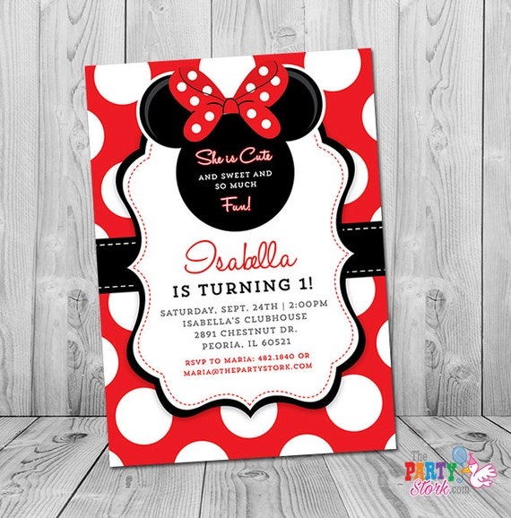 Minnie Mouse First Birthday Invitation Minnie Mouse 1st Birthday
