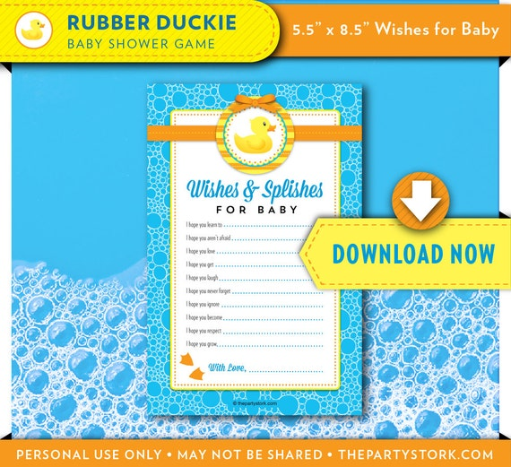 image relating to 5 Wishes Printable Version known as Rubber Ducky Child Shower Would like for Youngster Printable Card