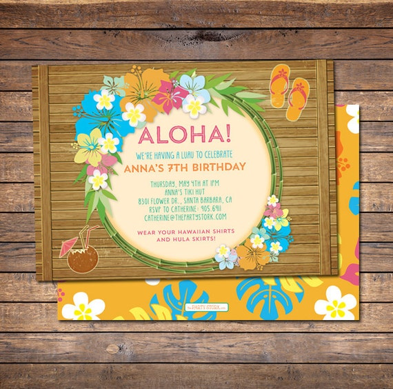 Luau Invitations Printable Invitation Birthday