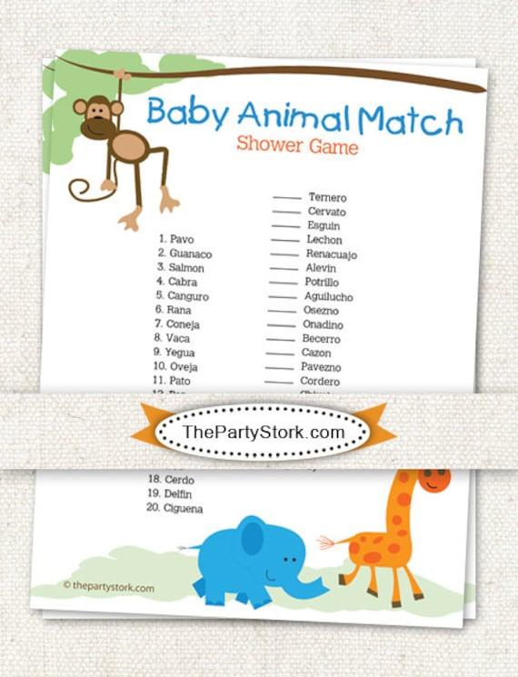 Spanish Baby Shower Game Baby Animal Match Safari Theme Etsy