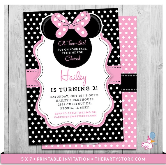 photo relating to Printable Minnie Mouse Invitations called Minnie Mouse Birthday Invites Printable Oh Twodles