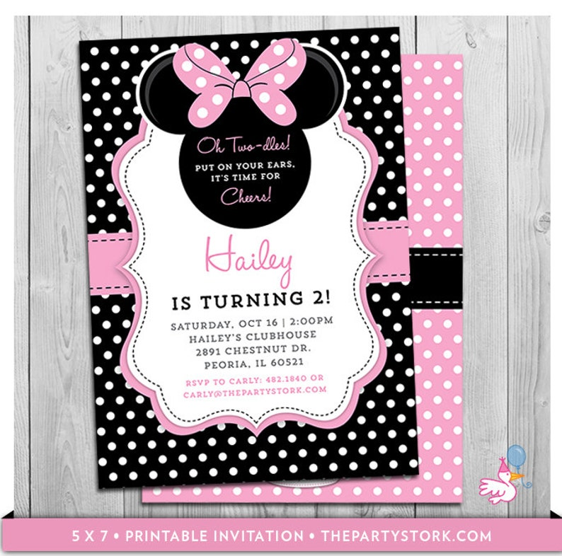 Minnie Mouse Birthday Invitations Printable Oh Twodles Party