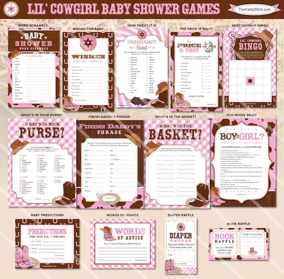 Cowgirl Baby Shower Games Cowgirl Printable Baby Shower Games