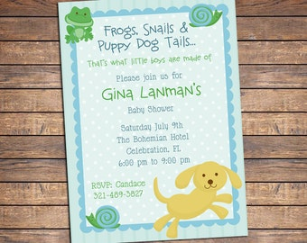 Frogs, Snails and Puppy Dog Tails Baby Shower Invitation, Printable Invite for Boys, Coordinating Party Printables Available