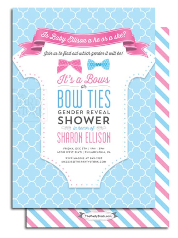 Gender Reveal Party Invitation Printable Bows Or Bowties Theme