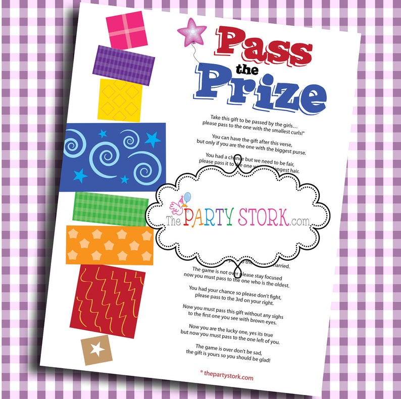 Pass The Prize Fun Baby Shower Game Baby Or Bridal Shower Etsy
