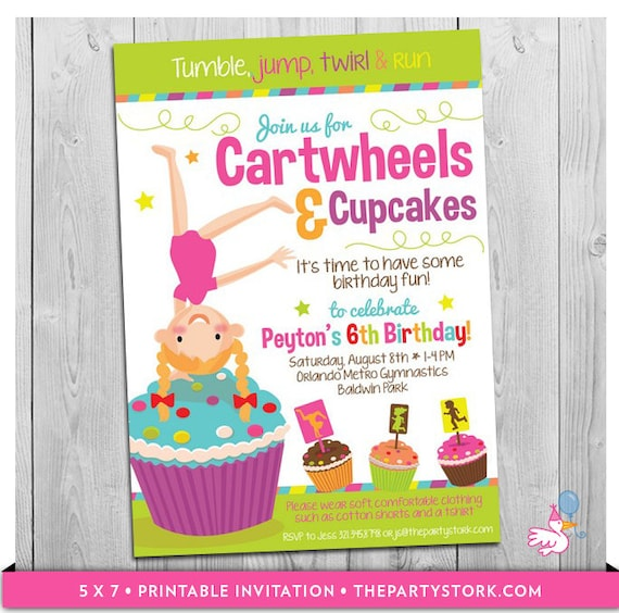 cartwheels and cupcakes invitation printable girls birthday etsy