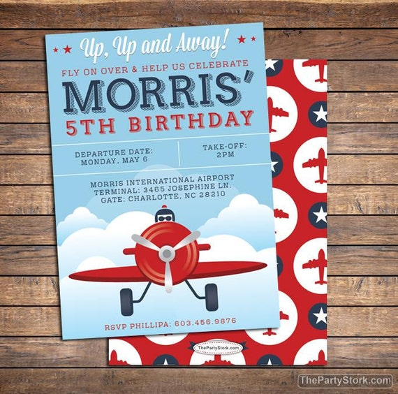 Airplane Birthday Invitation Diy Printable By Vindee On Etsy: Airplane Invitation Boy Invitations Airplane Party