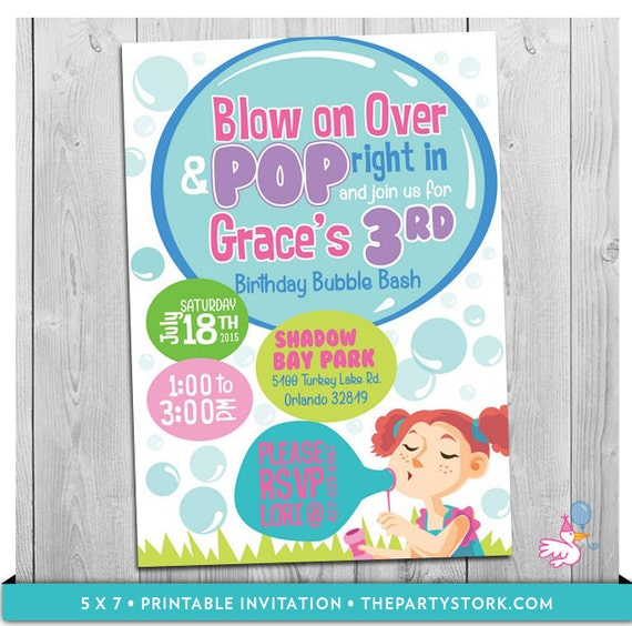 bubble party invitation printable girls bubbles birthday party