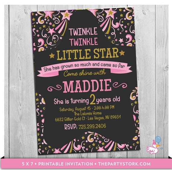 Twinkle Little Star First Birthday Invitation 2nd Or 1st