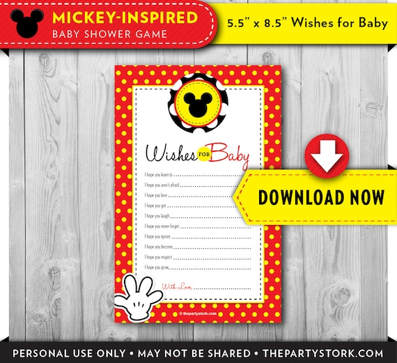 photograph relating to 5 Wishes Printable Version named Mickey Mouse Youngster Shower Needs for Kid Printable Card