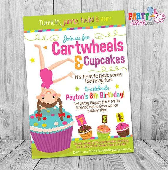 Gymnastics birthday invitation cartwheels and cupcakes etsy image 0 filmwisefo