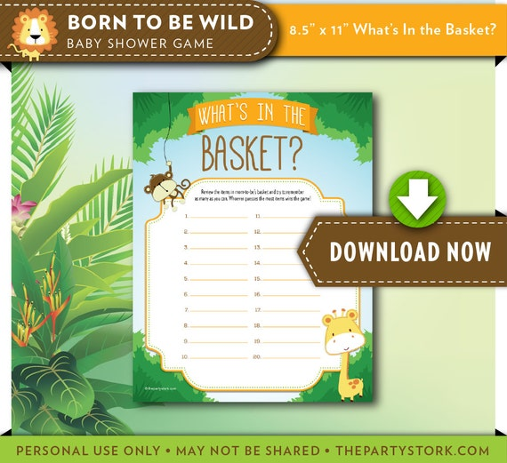 Safari Baby Shower Game What S In The Basket Printable Etsy