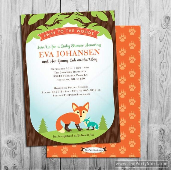 woodland baby shower invitation printable boy or girl invite