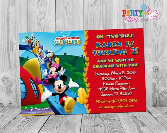 Mickey Mouse Clubhouse Invitations Printable Personalized Birthday Party Invites Two Year Old 2 Years Oh Dles Twodles YOU PRINT