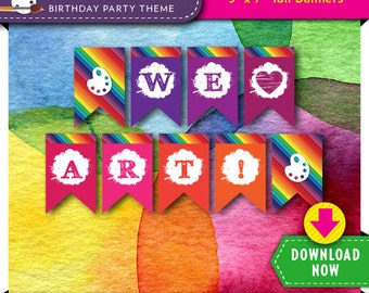 Art Paint Party Banner | Printable Birthday Decoration | Rainbow Colors | Instant Download | Invitation and more Decorations Available