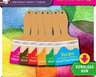 Art Paint Party Favor Tags | Printable Paint Brush Tag 6 Rainbow Colors | Instant Download