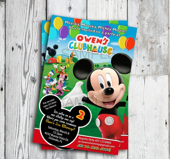 Mickey Mouse Clubhouse Invitations Mickey Mouse Clubhouse Etsy