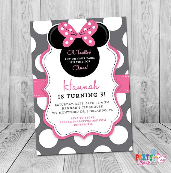 minnie mouse 3rd birthday invitation minnie mouse birthday etsy