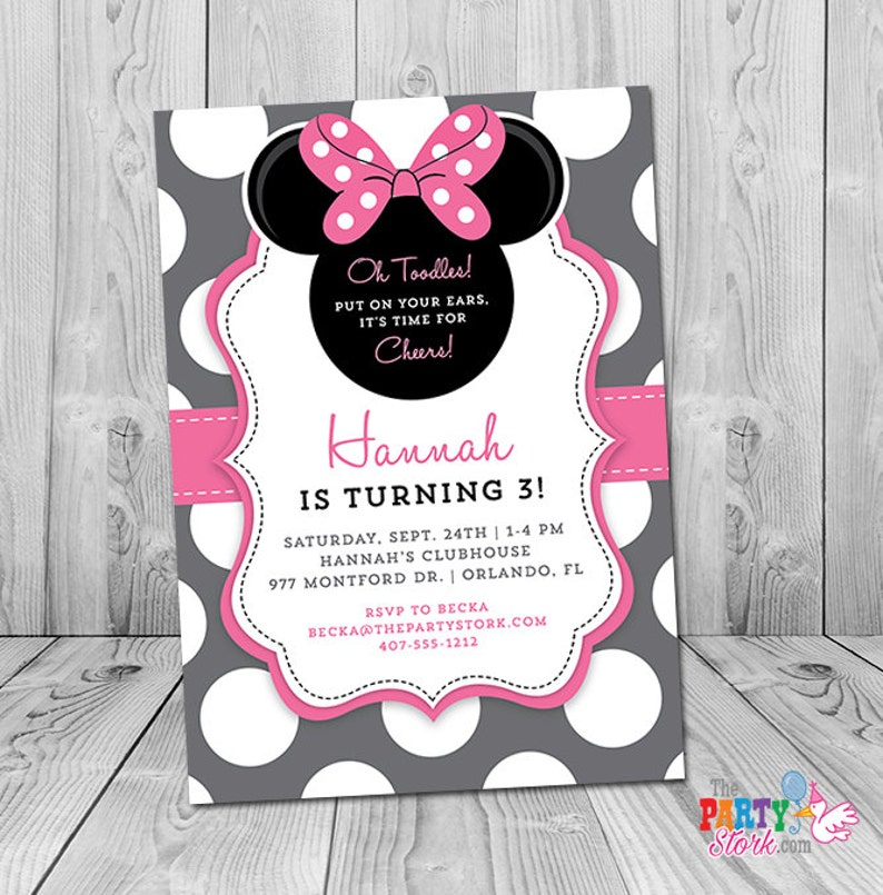Minnie Mouse 3rd Birthday Invitation