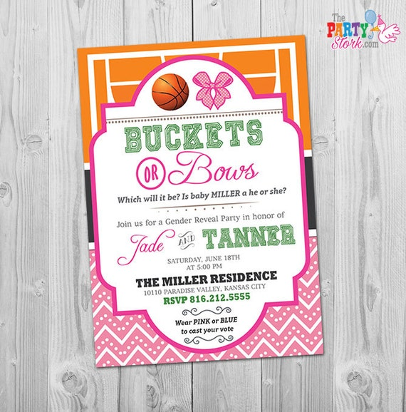 Gender Reveal Invitation Buckets Or Bows Invitation Basketball