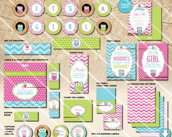Owl Baby Shower Decorations   Printable Party Package   Pink Green Blue   Invitation and Games Available   INSTANT DOWNLOAD