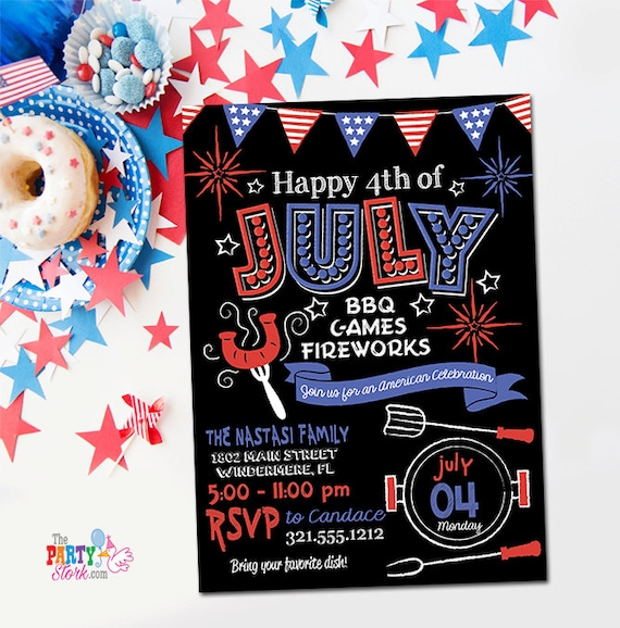 4th of july invitations printable fourth of july party invitation