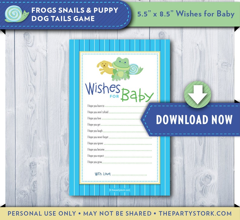 graphic relating to 5 Wishes Printable Version known as Needs for Child Printable Card Frogs Snails and Canine Pet dog Tails Child Shower Boy Invitation and Decorations Obtainable Fast Obtain